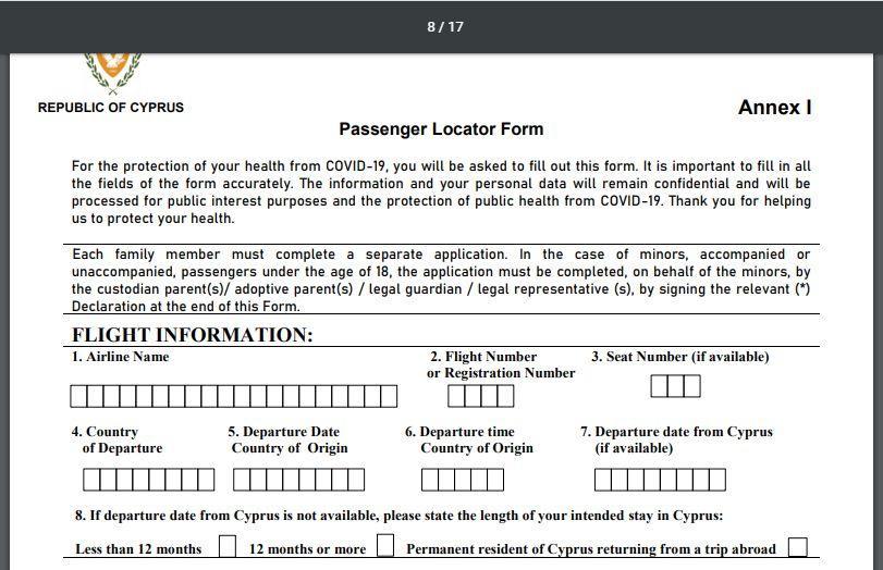 Cyprusflightpass заполнение анкеты пассажира